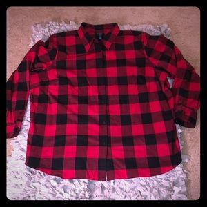 Chaps No Iron Size 3X Red and Black Plaid Blouse